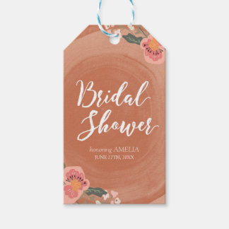 Brown Wood Rustic Floral Bridal Shower Gift Tags