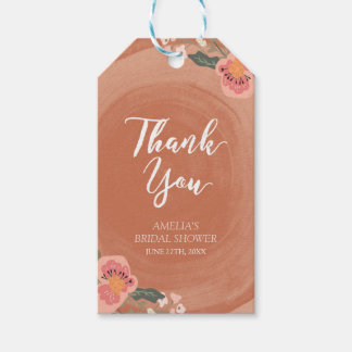 Brown Wood Rustic Floral Bridal Shower Thank You Gift Tags