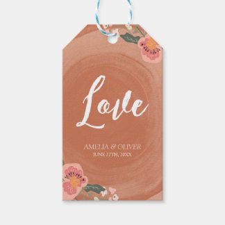 Brown Wood Rustic Floral Love Wedding Gift Tags