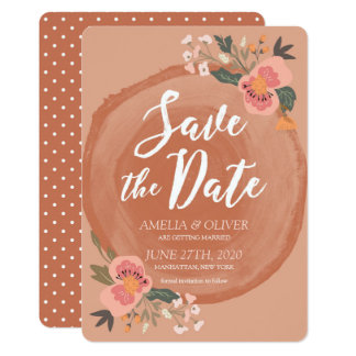 Brown Wood Rustic Floral Save the Date Card