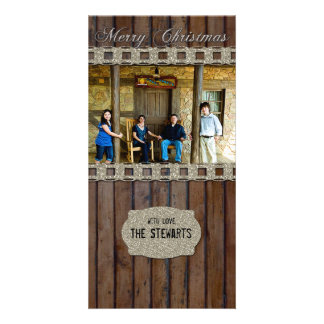 Brown Wood Silver Country Photo Christmas Card Photo Greeting Card