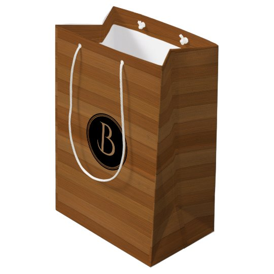 Brown Wood Stripes Black Monogram Medium Gift Bag
