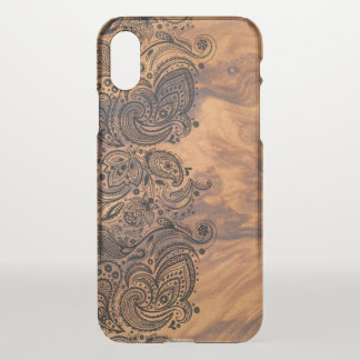 Brown Wood Texture & Black Lace iPhone X Case