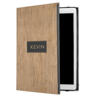 "Brown Wood texture Monogram iPad Pro 12.9"" Case"