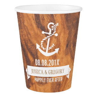 Brown Wood Texture White Nautical Boat Anchor Paper Cup