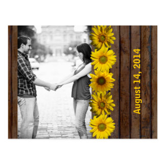 Brown Wood Yellow Sunflower Photo Save the Date Postcard