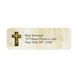 Brown Wooden Cross Hope and Inspiration Return Address Label
