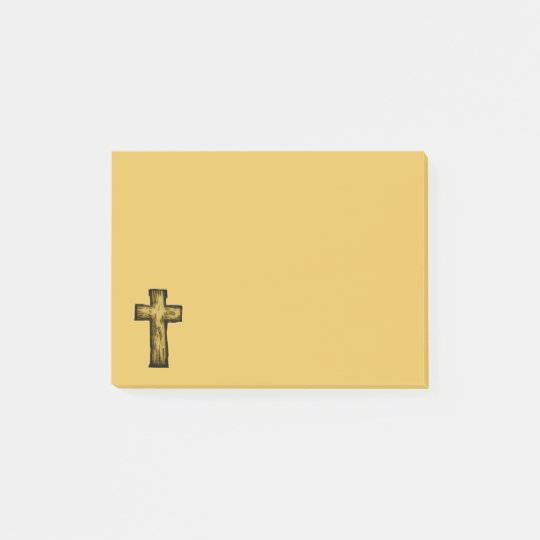Brown Wooden Cross Illustration Post-it Notes