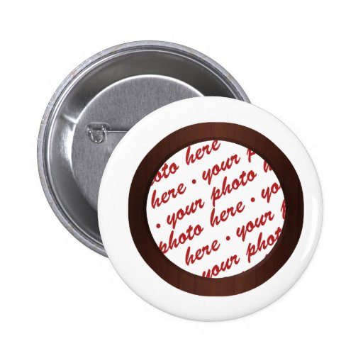 Brown Wooden Photo Frame Template Button