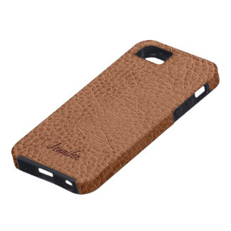 Brown Worn-Out Natural Leather Look iPhone 5 Case