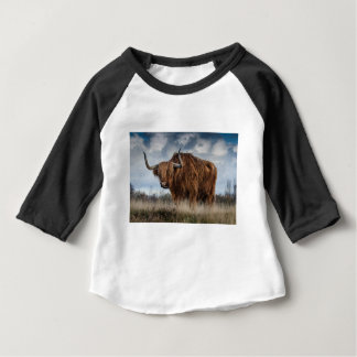 Brown Yak on Green and Brown Grass Field Baby T-Shirt