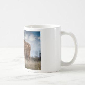 Brown Yak on Green and Brown Grass Field Coffee Mug