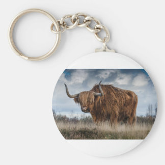 Brown Yak on Green and Brown Grass Field Keychain