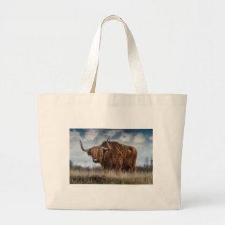 Brown Yak on Green and Brown Grass Field Large Tote Bag
