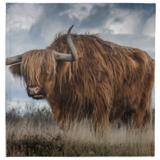 Brown Yak on Green and Brown Grass Field Napkin