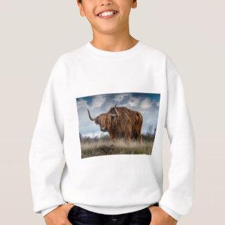 Brown Yak on Green and Brown Grass Field Sweatshirt
