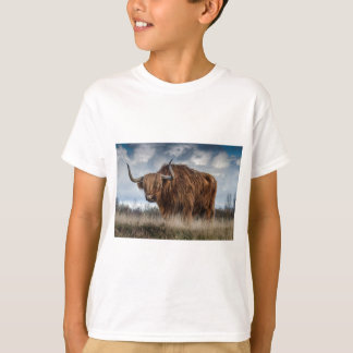 Brown Yak on Green and Brown Grass Field T-Shirt