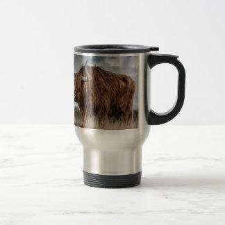 Brown Yak on Green and Brown Grass Field Travel Mug