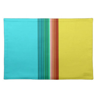 Brown Yellow Blue Multicolor Striped Pattern Placemat