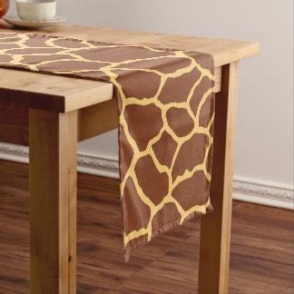 Brown Yellow Giraffe Skin Pattern Short Table Runner
