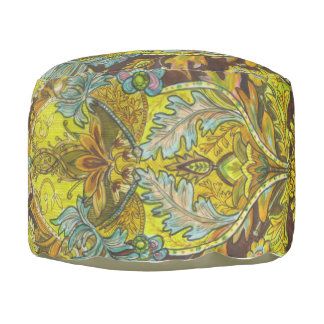 Brown, Yellow & green floral pattern pouf