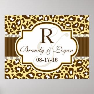 Brown, Yellow Leopard Animal Print Wedding