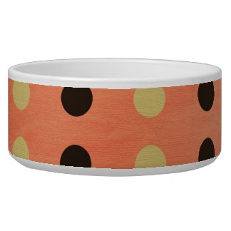 Brown, Yellow, Orange Polka Dots Dog Pet Bowl