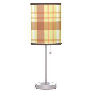 Brown yellow plaid pattern desk lamp