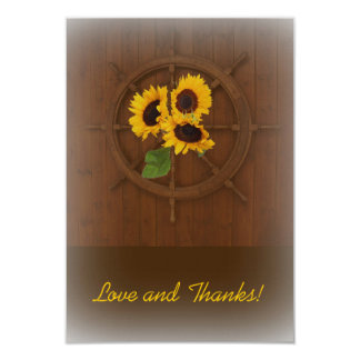 Brown yellow rustic sunflowers wedding thank you card
