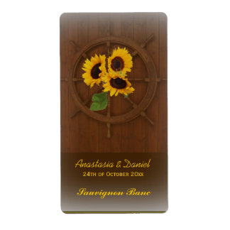 Brown yellow rustic sunflowers wedding wine label shipping label