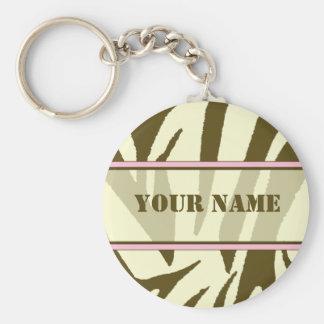 Brown Zebra Print Keychain