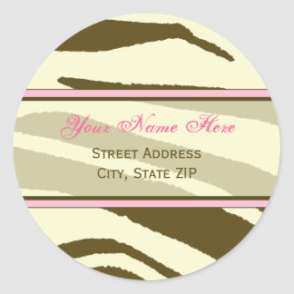 Brown Zebra Print with Pink Address Labels