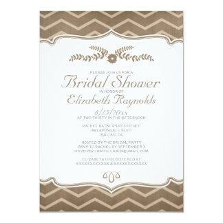 Brown Zigzag Bridal Shower Invitations