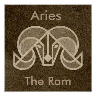 Brown Zodiac Aries, The Ram, Horoscope Poster