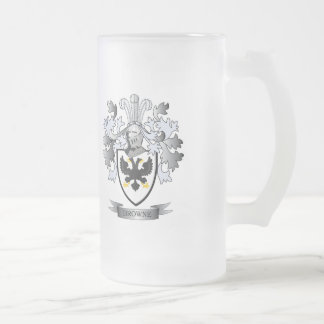 Browne Coat of Arms Frosted Glass Beer Mug