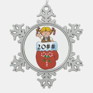 Brownie Mitten Blonde Pewter Snowflake Ornament