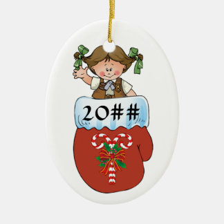 Brownie Mitten Brunette Ceramic Ornament