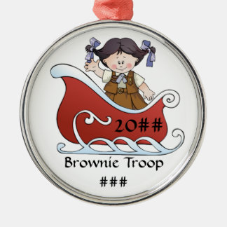 Brownie Scout Sled Black Hair Silver-Colored Round Ornament