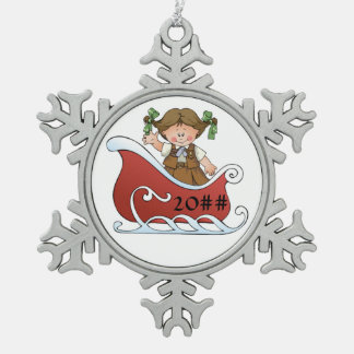 Brownie Scout Sled Brunette Pewter Snowflake Ornament