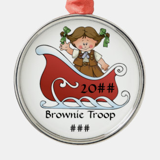 Brownie Scout Sled Brunette Silver-Colored Round Ornament