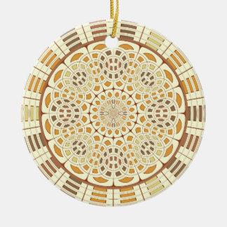 Brownish mandala round ceramic ornament