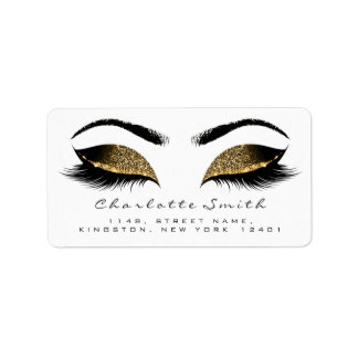 Browns Gold Makeup Lash Return Address Labels RSVP