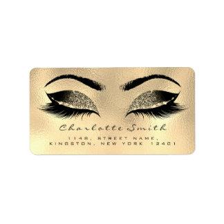 Browns Gold Makeup Lashes Return Address Labels