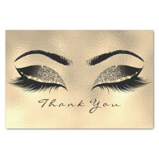 Browns Gold Sepia Glitter Thank You Eyes Lashes Tissue Paper