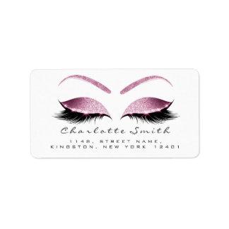 Browns Pink Makeup Lash Return Address Labels RSVP