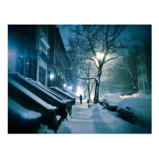 Brownstones Blanketed In Snow Postcard