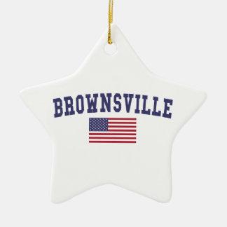 Brownsville US Flag Ceramic Ornament
