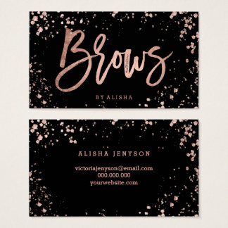 Brows typography rose gold confetti splatters business card