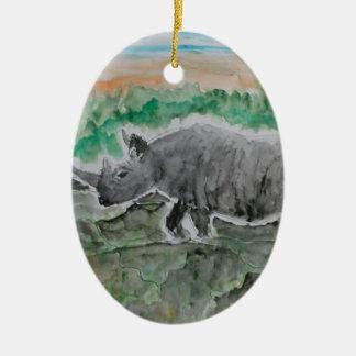 Browsing Rhinos Ceramic Oval Ornament