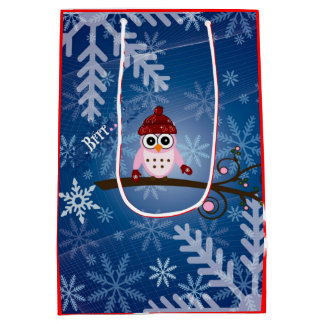 Brrr...Pink Owl, Snowflake Design Medium Gift Bag